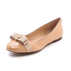 NWOT Tory Burch Nude Bow Tie Patent Leather Flat